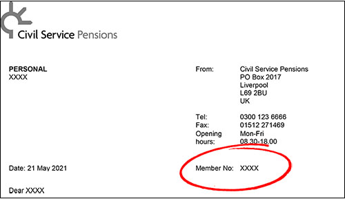 The top of a letter from Civil Service Pensions. On the right hand side, there is a red circle around the words MEMBER NUMBER.